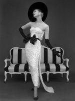 Susan Abraham modelling a John Cavanagh evening dress