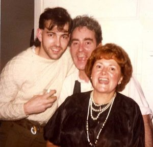 Me, Ossie and Cynthia Payne saying 'sex' for the camera